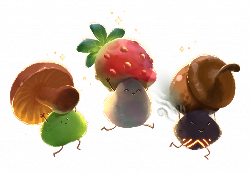 Three living rocks carying fruits